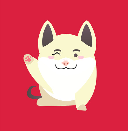White pig with winking face, cute cartoon of funny character. Illustration of sitting animal with raised paw in flat style isolated on red vector