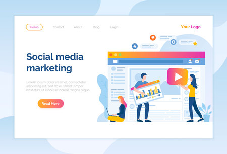 Social media marketing website online page people vector. Workers filling information for site, optimization and development of seo search engine. Networking connection