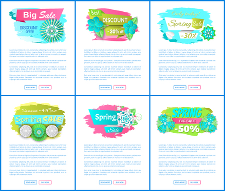 Sale web posters with spring blooming flowers collection. Pages mockups with text sample, discount, 30, 45 and 50 percent off. Promo leaflets sets, vector