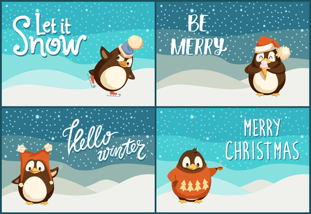 Let it snow, be merry and bright, hello winter and merry Christmas postcards. North pole cartoon penguins in warm winter cloth. Arctic bird with stockings, in Santa hat