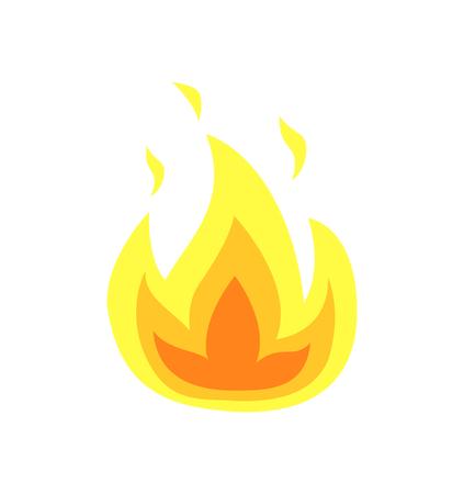Brandende vlam tongen vector geïsoleerde pictogram. Gele vuurvlammen, heet kampvuur of vreugdevuur, realistische brandbare hittevonken, laaiende vlammende explosie van hitte