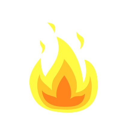 Burning flame tongues vector isolated icon. Yellow fire flames, hot campfire or bonfire, realistic flammable heat sparks, blazing flaming explosion of heat Vettoriali