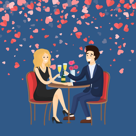 Couple in evening clothes sitting at table drinking champagne. Man holding hand of woman and saying toast. Card decorated red hearts, Valentine day vector