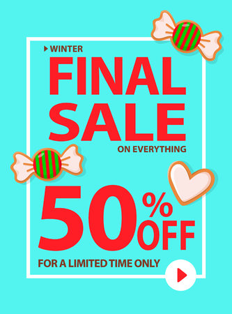 Winter final sale limited time only 50 percent vector. Price of reduced cost, candy in wrappings and cookie made of gingerbread in shape of heart