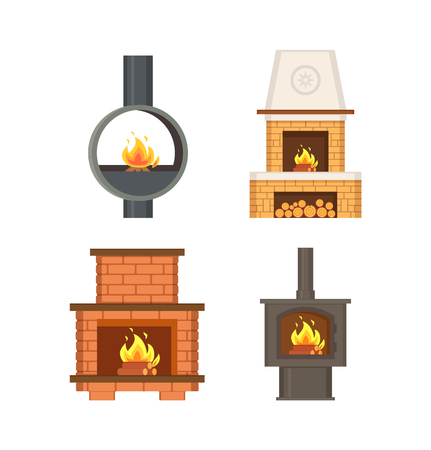 Fireplace with logs and fire flames isolated icons set vector. Contemporary home interior, stove made of metal and bricks, with chimney ventilation Illustration
