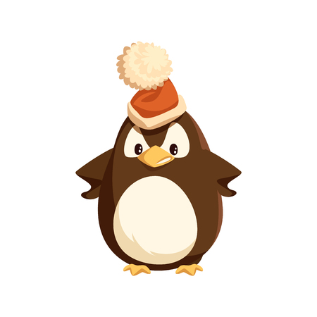 Angry penguin in Santa hat, isolated character. Arctic bird with furious face expression vector. Christmas holiday, wild animal and headdress with bubo. Illustration
