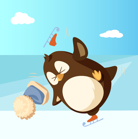 Penguin on skates outdoor warm blue hat falling from head. Winter activity and bird failure vector on snowy landscape. Arctic bird having fun outdoors 일러스트