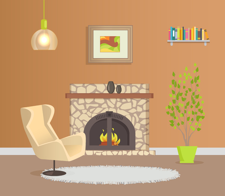 Modern design of flat with brown wallpaper vector. Armchair and grey mat near burning fireplace decorated with vase. Houseplant near shelf with books
