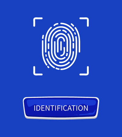 Identification fingerprints poster. Fingermark and thumbprint authorization of unique personal finger pattern of human with print in frame and button Standard-Bild - 125453269