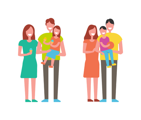 Family happy together people spending time and laughing. Mother and father with son will ball and daughter holding eating ice-cream isolated on vector