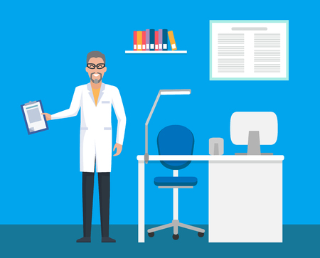 Veterinary clinic, room of doctor with file clipboard vector. Patient case in hand of expert, table with computer data on monitor. Man working in vet