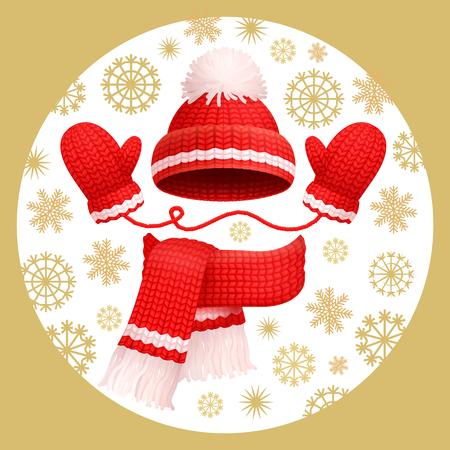Cálido conjunto de 3 piezas bufanda de punto rojo de invierno, guantes y gorro con pompón, vector. Accesorios de lana gruesa, gorro y guantes sobre fondo de copos de nieve