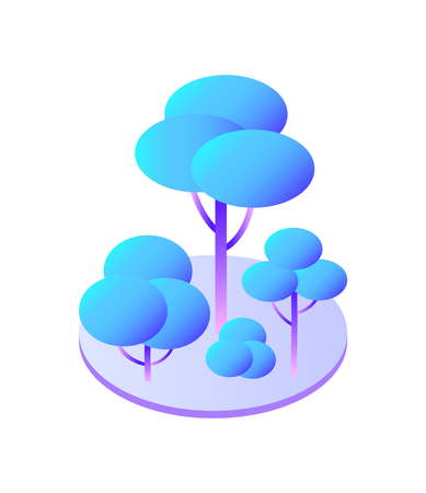 Trees and bush with branches on circle area isolated icon vector. Green zone of town, smart city with ecologically useful vegetation and plantation