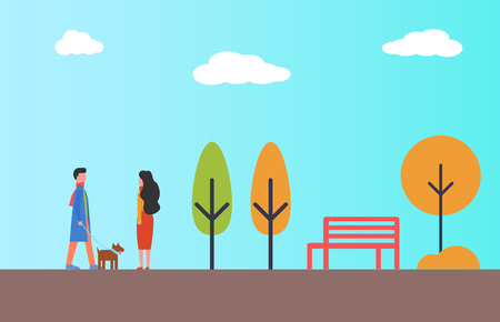 Man waking in park with pet dog. Woman looking at them wishing to get acquainted. Male and female in autumn season spend time outdoors, vector characters Ilustração