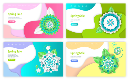 Spring sale web pages with text sample and buttons vector. Reduction of price, ecommerce online business, origami decoration flowers made of paper Illustration