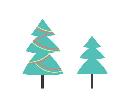 Christmas tree decorated with toys and forest evergreen plant. Symbolic pine with decoration on branches. Celebration of wintertime holiday, spruce sign Иллюстрация