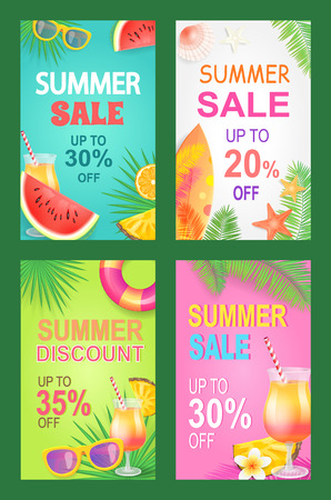 Summer sale posters set offer vector. Proposition and good deal bargain of shop. Sunglasses and cocktail with straw, watermelon juicy fruit with seeds  イラスト・ベクター素材