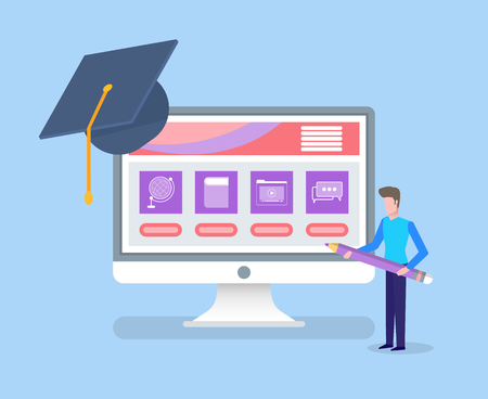 Online education, completion of university degree vector. Person holding pencil standing by monitor with info files and assignments, graduation hat