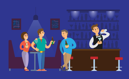 Nightclub bartender pouring alcoholic drinks in glass vector. Man and woman talking to person with bottle of beer, clubbing atmosphere lights and dark