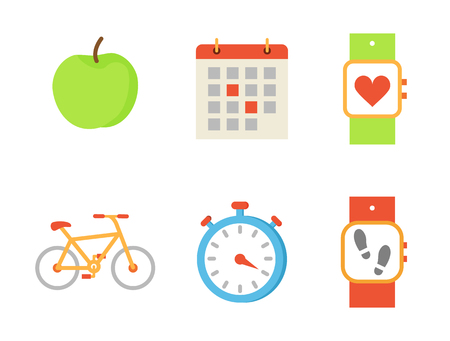 Bicycle and apple fruit set of icons vector. Bike and calendar with highlighted events, wristband with heart rate and steps quantity. Timer and watch