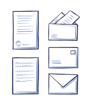 Office pages and correspondence monochrome sketches outline isolated icons set vector. Messages and envelopes with documents official documentations