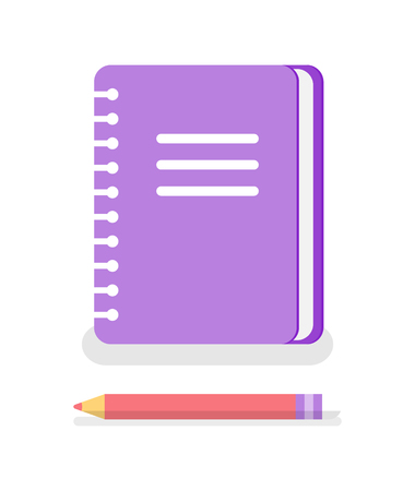 Notebook with spiral to write memos and pencil isolated vector icons. Study supplies for university and school, copybook with personal information, textbook