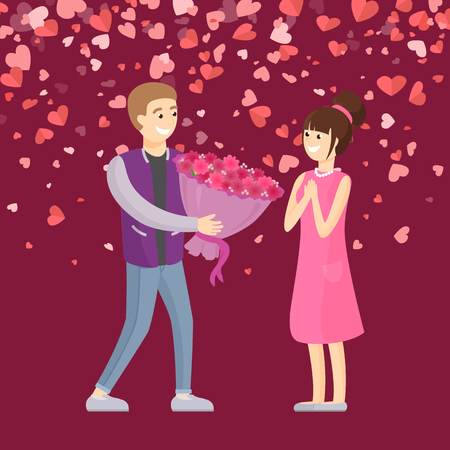 Man giving big bouquet of pink flowers to woman. Surprise for girlfriend, Valentine day, dating people. Card decorated by hearts, holiday greeting vector