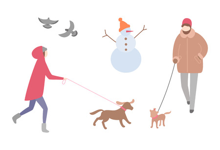 Femme marchant chien dans l'activité de la saison d'hiver vecteur à l'extérieur. Bonhomme de neige avec bonnet tricoté et nez de carotte, colombes pigeons volant. Personne avec animal de compagnie en laisse