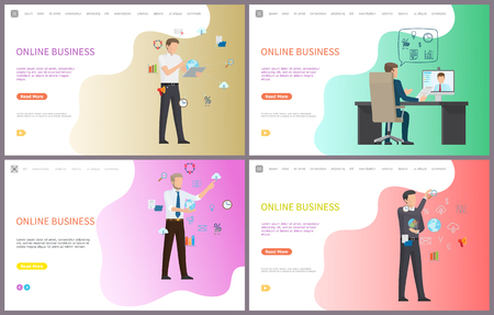 Online business, businessman discussing project with freelancer vector. Distant communication with partner with help of internet. Gears and tools