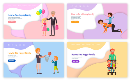 How to be happy family vector, father and son playing basketball game vector. Grandparent with grandchild, daddy with children boy and girl kids Ilustracja