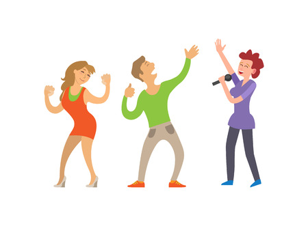 Partying people dancing couple and female singer vector. Clubbing lady and male, boyfriend and girlfriend dancers, singing woman with microphone mic