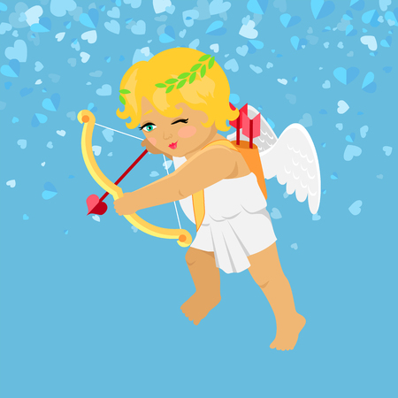 Valentines Day, Cupid aiming with bow, heart with arrow. Little boy with wings isolated on blue vector cartoon. Festive card with angle and hearts