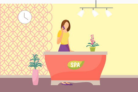Spa salon reception woman receptionist vector. Lady taking on phone and standing by table. Receiving appointments discussing timing manager at work