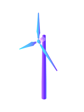 Wind energy electric power generation isolated icon vector. Electricity with alternative technologies, resources generator with propeller turbines Ilustrace
