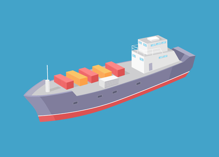 Cargo ship marine commercial vessel vector icon isolated on blue. Transportation boat full of containers export goods, shipping and delivering by water