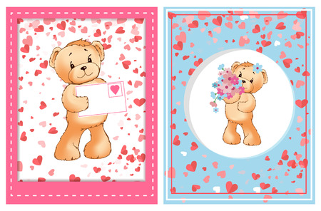 Teddy holding Valentine postcard decorated by pink frame, toy with flowers in center of round adorned by hearts. Romantic card with furry bear vector Illustration