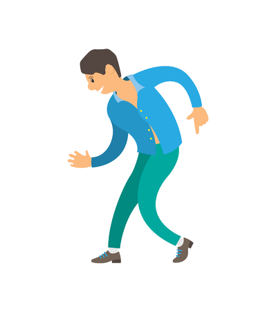 Dancer wearing suit dancing character isolated vector. Nightlife of man, male relaxing moving body on music. Person expressing himself in club dance