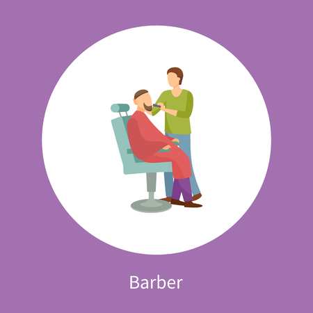 Barber shop poster hairdresser cutting or shaving beard and mustaches to man in armchair vector isolated in circle. Hipster man spa salon for hair style Stock Illustratie