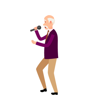 Music performer, old male holding microphone isolated vector. Human wearing formal clothes relaxing at karaoke club, singer vocalist, pensioner solo