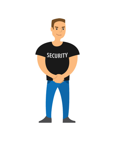 Security standing on entrance strong character vector. Body guard of club, safety person with big muscles, person working in entertaining instance