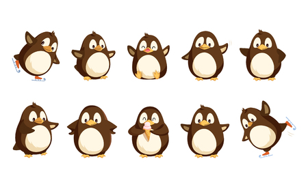 Penguins North Pole animals isolated icons set vector. Seabirds showing happy emotions, eating ice cream and skating, falling down and waving wing