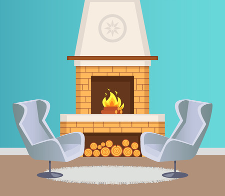 Interior of flat in blue color of wallpaper, fireplace with burning firewoods and logs on floor and pattern on top. Grey armchairs and mat vector Çizim
