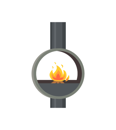 Fireplace made of metal material iron stove isolated icon vector. Pipe glowing flames in ball, home interior decoration of closed type, circular furnace Illustration