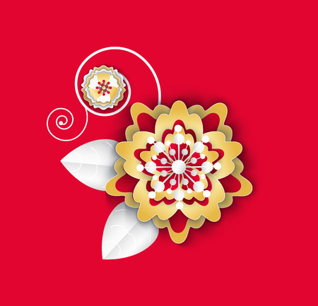 Flower with leaves and petals flora plant isolated icon vector. Asian paper culture floral decoration, decor on Chinese New Year celebration origami Standard-Bild - 116762621