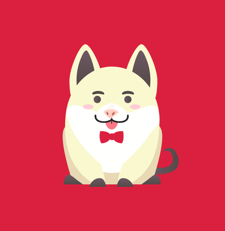 White pig, cute cartoon funny character. Symbol of Chinese horoscope New Year, Illustration of sitting animal with bow in flat style isolated on red vector