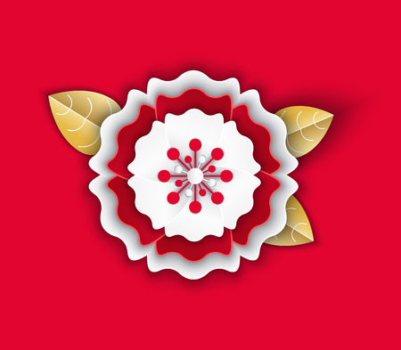 Paper flower with petals origami with leaves Chinese style vector. Isolated icon with leaves flourishing and blooming flora 2019 approaching new year celebration Archivio Fotografico - 116764534