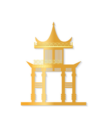 Golden Japan gate with decorated roof isolated object on white background. Torii gateway sign in flat style. Japanese traditional classic symbol vector Иллюстрация