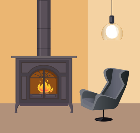 Fireplace in room home interior house atmosphere vector. Furnace made of metal of vintage style, lamp hanging on ceiling, armchair by metallic stove