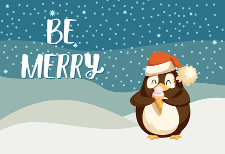 Be merry greeting card with cute arctic penguin eating ice cream. Winter cartoon character on North pole. Bird on snowy landscape and starry night sky
