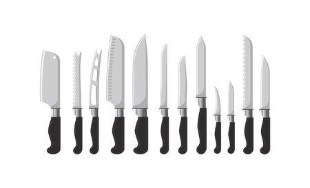 Kitchen cutlery sharp knives silverware dining vector. Equipment for cutting objects, dishware tools, tableware with handles and different shapes of blades